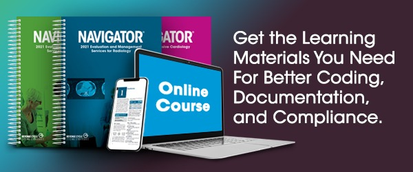 A collection of educational resources covering radiology, medical oncology, radiation oncology, online tutorials, and other educational materials to gain CEUs.   Text states: Get the Learning Materials You Need for Better Coding, Documentation, and Compliance.