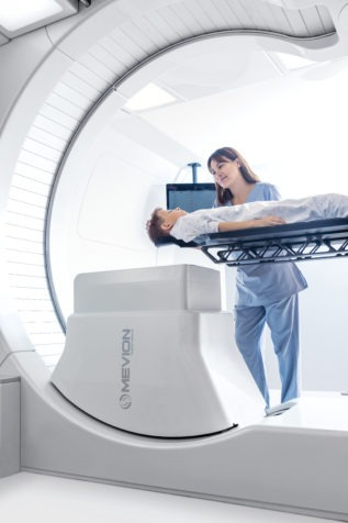 Doctor with patient at scan